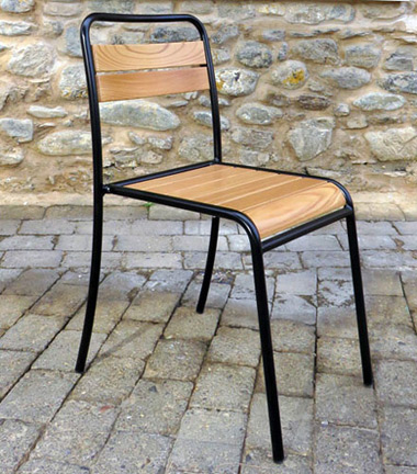 Parisian Park Style Steel Stacking Chair with Chestnut Slats Side View