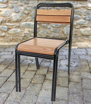 Parisian Park Style Steel Stacking Chair with Chestnut Slats Stacked