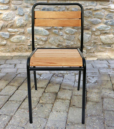Parisian Park Style Steel Stacking Chair with Chestnut Slats Front View