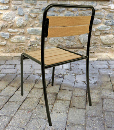 Parisian Park Style Steel Stacking Chair with Chestnut Slats Rear View