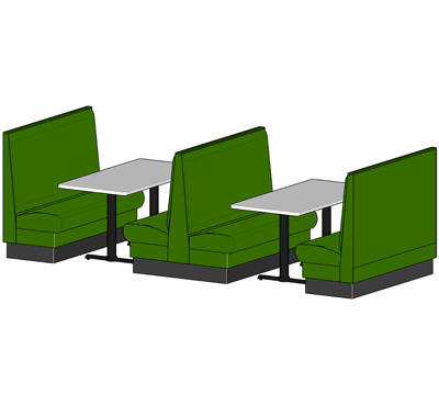 Plain Back Single And Double Upholstered Booths Drawing