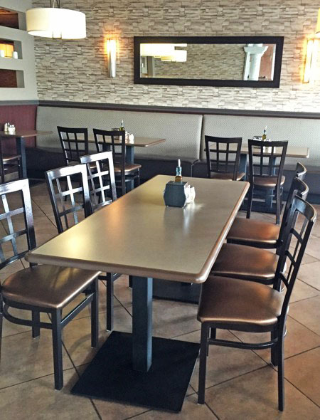 Square Plate Steel Restaurant Table Base Installation