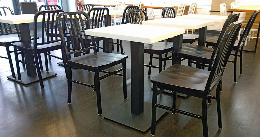 Plate Steel Restaurant Table Base Installation