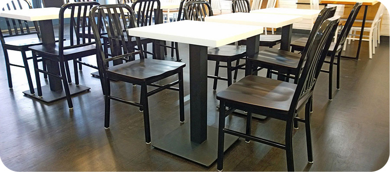 Flat Steel Square Restaurant Table Bases Installation