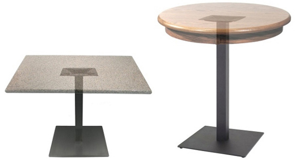 Square Plate Steel Restaurant Table Bases