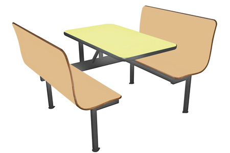 Laminated Plastic Four Seat Restaurant Booth