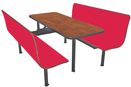 Laminated Plastic Six Seat Restaurant Booth