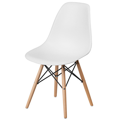 Budget Polypropylene Shell Chair With Wood Frame Front View