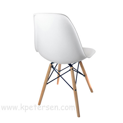 Budget Polypropylene Shell Chair With Wood Frame Rear View