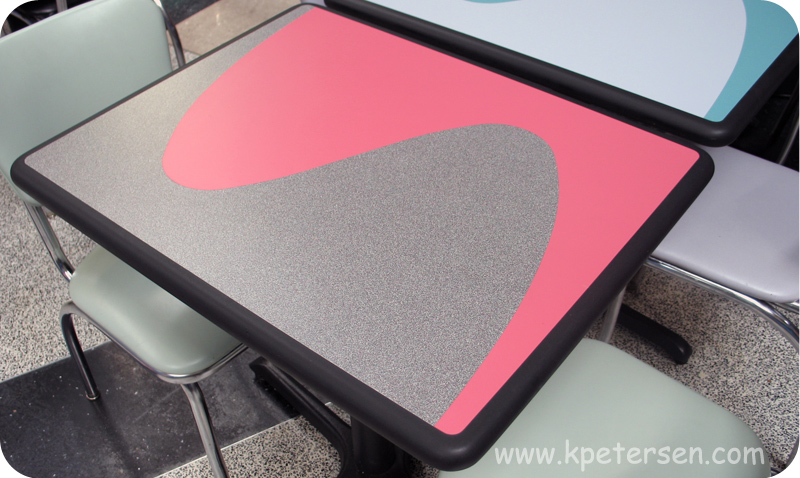 Two Color Laminate Inlay Dur A Edge Polyurethane Restaurant Tables.