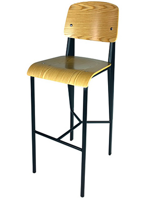 Prouve Barstool Black Frame, Natural Seat Front View