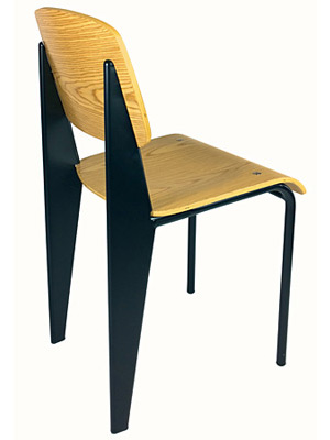 Prouve Chair Black Frame, Natural Seat Rear View