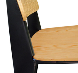 Prouve Bar Stool Black Frame, Natural Seat Front View