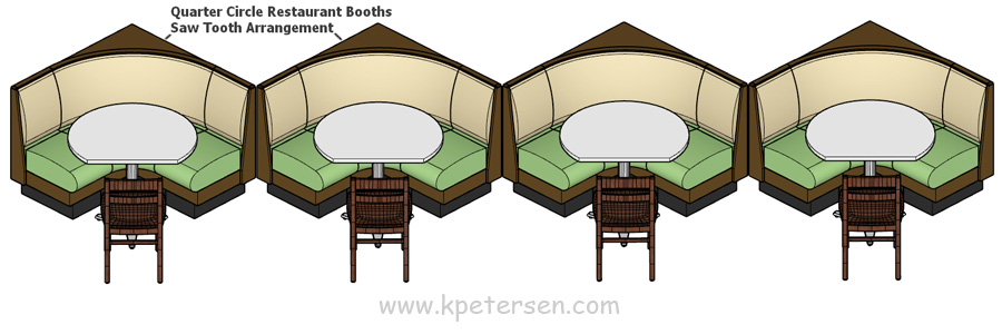 Upholstered Restaurant Saw Tooth Arrangement Drawing