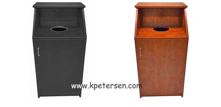 Quick Ship Top Drop Waste Receptacles Black             and Cherry Laminate