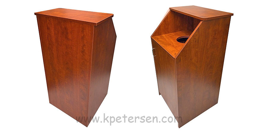 Quick Ship Top Drop Waste Receptacle Decorative Laminate All Four Sides