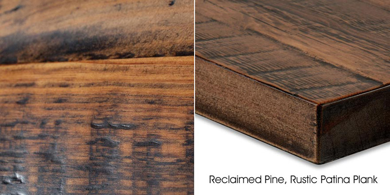 Reclaimed Pine, Rustic Patina Plank Restaurant Table Detail