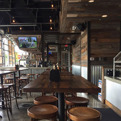 Reclaimed Pine, Rustic Patina Plank Restaurant Tables Installation