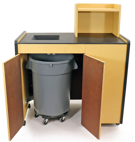 Closeout Restaurant Tray Return With Solid Surface Chute Disposal Trash Receptacle
