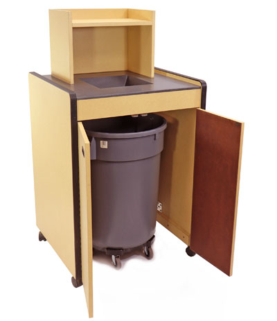 Closeout Restaurant Tray Return With Solid Surface Chute Disposal Single Trash Receptacle Open