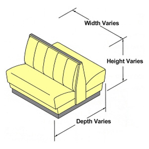Dimensions will vary by upholstered booth style elevation drawing