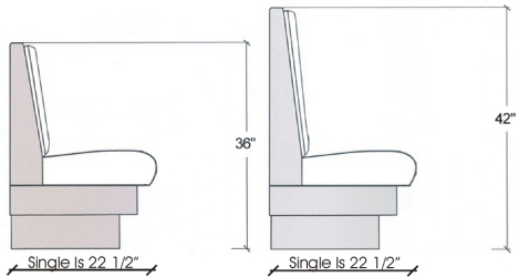 Upholstered Booth Elevation Drawing Singles