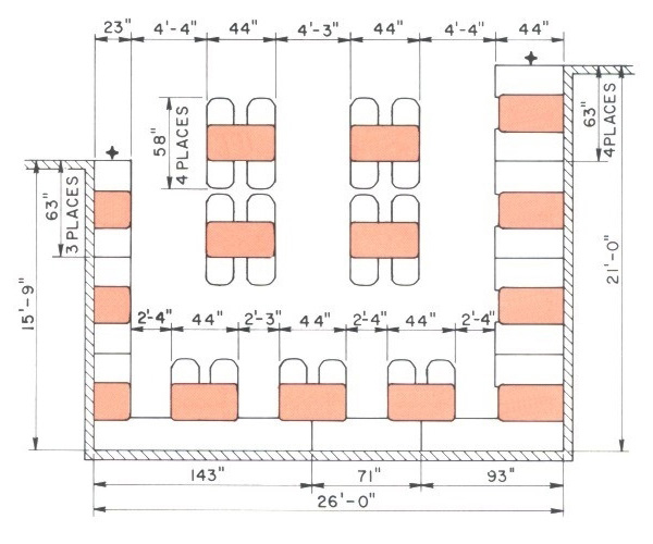 Contoured Restaurant Booth General Layout Dimensions
