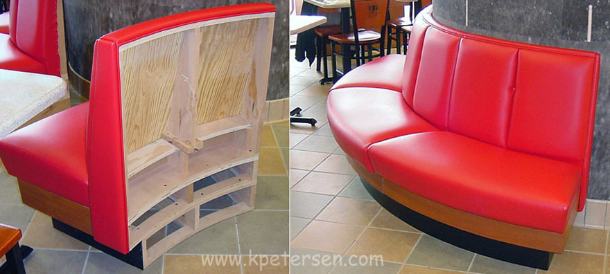 Upholstered Restaurant Booth With Unfinished Outside Back