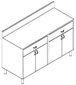 Double Restaurant Storage Cabinet 2 Drawers