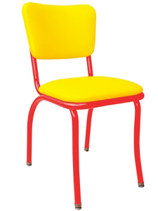 Retro Modern Diner Chair Variation - Yellow Vinyl Upholstery Red Steel Chair Frame