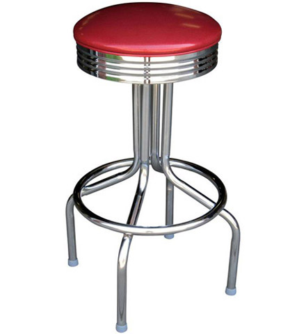 Retro Chrome Bar Stool, All Welded Steel Frame 30 Inch Seat Height