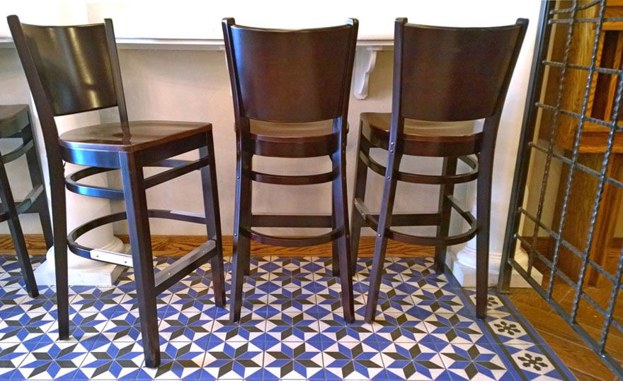 Wood Seat Roadhouse Bar Stool Installation