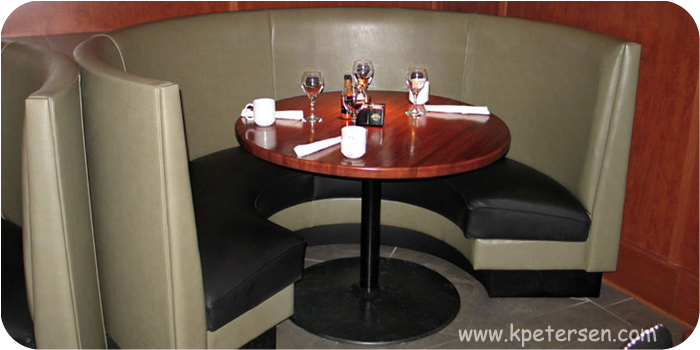 Budget Style Steel and Cast Iron Round Restaurant Table Base At Circle Booth