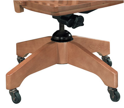 Oak Schoolhouse Swivel Chair Base and Casters