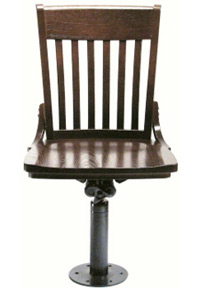 Oak Schoolhouse Bolt Down Swivel Side Chair Front View