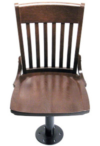 Oak Schoolhouse Bolt Down Swivel Side Chair Overhead Front View