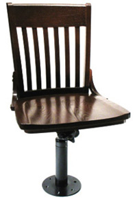 Oak Schoolhouse Bolt Down Swivel Side Chair Front - Side View