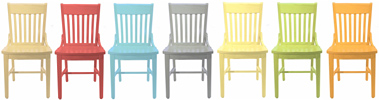 Oak Schoolhouse Chairs Solid Colors