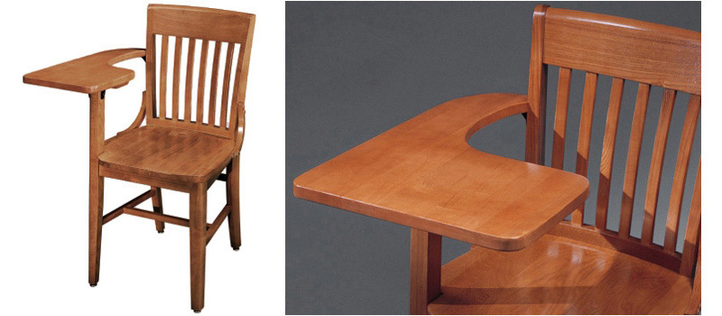 Oak Schoolhouse Tablet Arm Chair