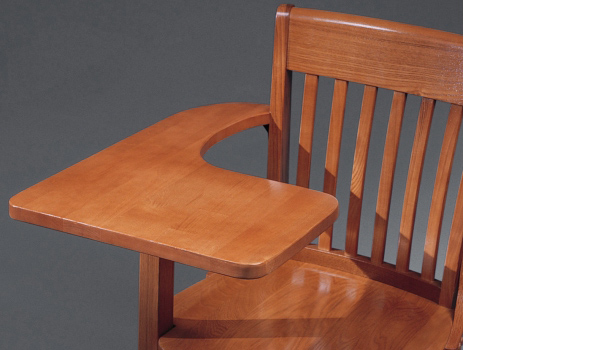 Oak Schoolhouse Tablet Arm Chair Detail