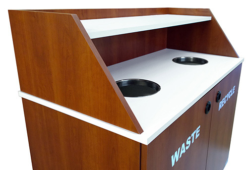 Slant Style Top Drop Waste Receptacle Recycling Cabinet Double Detail