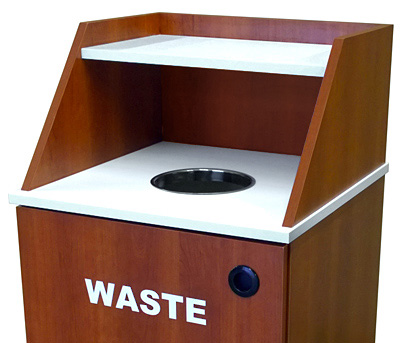 Slant Style Top Drop Waste Receptacle Recycling Cabinet Single Detail