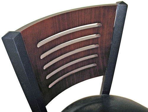 Economy Steel with Wood Slot Back Restaurant Chair Backrest Detail