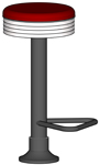 Budget Soda Fountain Counter Stools Black Column Price 30 Inch Seat Height With Footrest Option