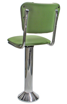 Diner Chair Style Soda Fountain Counter Stool With 1 Inch Thick Seat Rear View