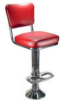 Diner Chair Style Soda Fountain Counter Stool With 2 Inch Thick Seat and Cast Aluminum Footrest