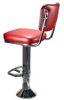 Soda Fountain Counter Stool Bolt Down with 2 Inch Thick Upholstered Seat and Footrest Options Rear View