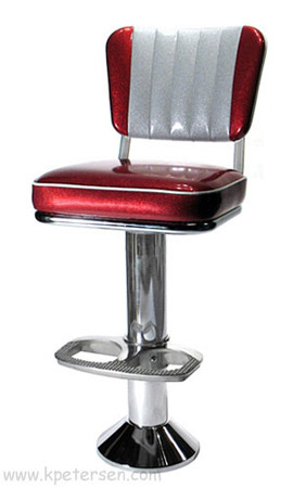 Soda Fountain Counter Stool Bolt Down with 2 Inch Thick Upholstered Seat, Custom Backrest and Footrest Option