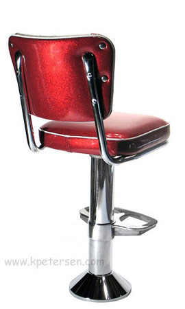 Diner Chair Style Soda Fountain Counter Stool With 2 Inch Thick Seat and Cast Aluminum Footrest Rear View