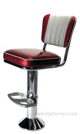 Soda Fountain Counter Stool Bolt Down with 2 Inch Thick Upholstered Seat, Custom Backrest and Footrest Option Side View